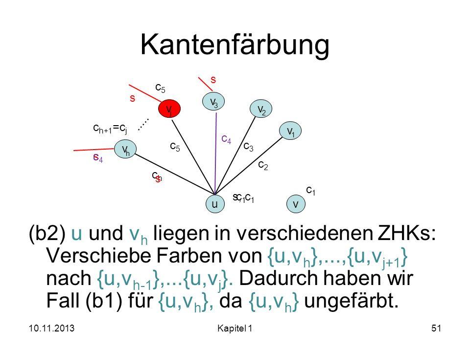 Kantenfärbung (b2) u und v h liegen in verschiedenen ZHKs: Verschiebe Farben von {u,v h },...,{u,v j+1 } nach {u,v h-1 },...{u,v j }. Dadurch haben wi