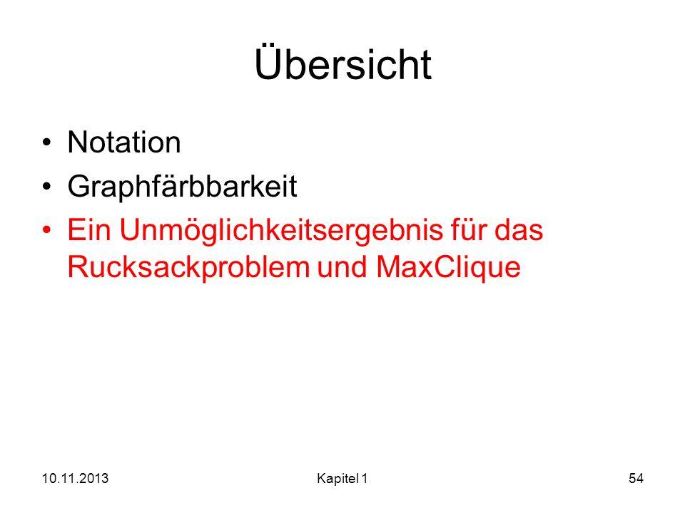 Übersicht Notation Graphfärbbarkeit Ein Unmöglichkeitsergebnis für das Rucksackproblem und MaxClique 10.11.2013Kapitel 154