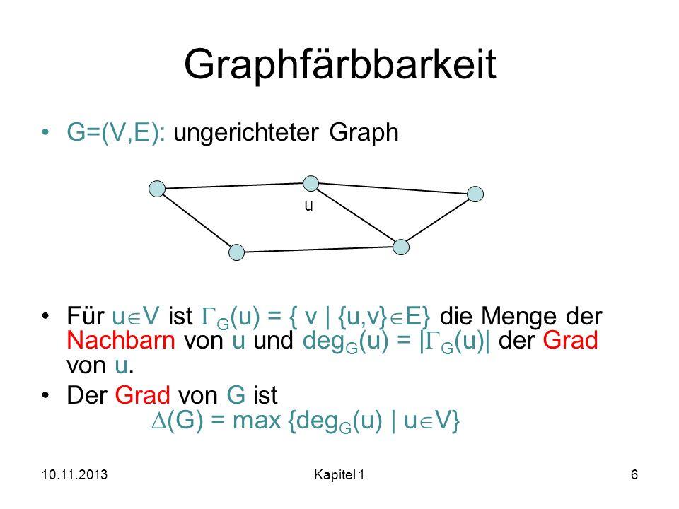Graphfärbbarkeit G=(V,E): ungerichteter Graph Für u V ist G (u) = { v | {u,v} E} die Menge der Nachbarn von u und deg G (u) = | G (u)| der Grad von u.