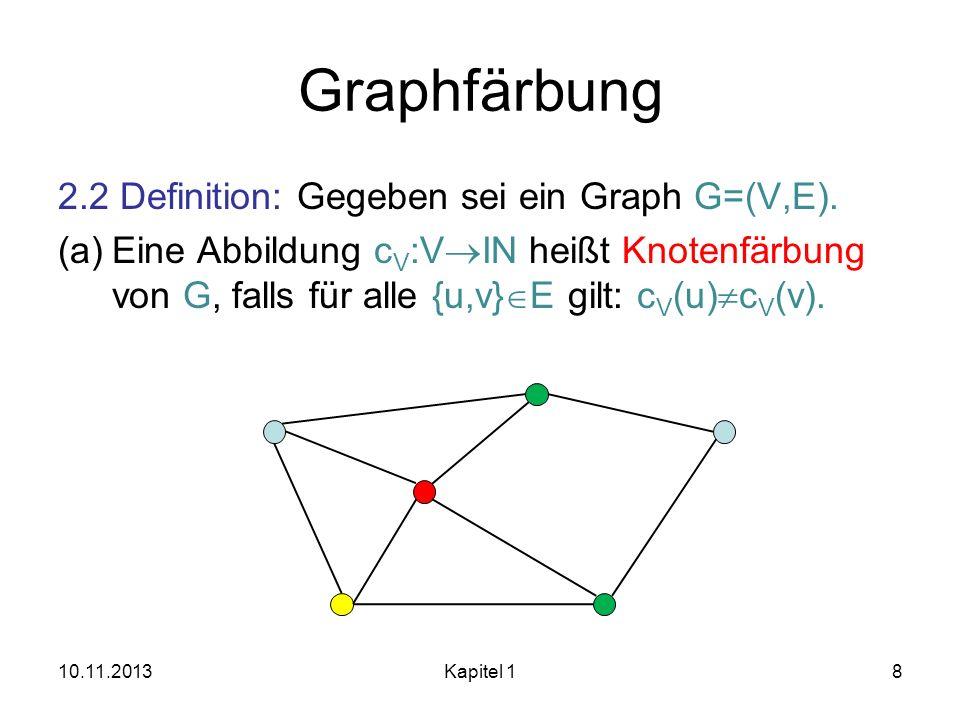 Graphfärbung 2.2 Definition: Gegeben sei ein Graph G=(V,E). (a)Eine Abbildung c V :V IN heißt Knotenfärbung von G, falls für alle {u,v} E gilt: c V (u