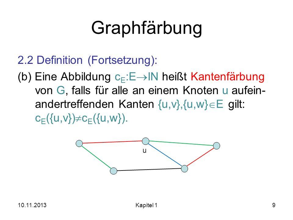 Graphfärbung 2.2 Definition (Fortsetzung): (b) Eine Abbildung c E :E IN heißt Kantenfärbung von G, falls für alle an einem Knoten u aufein- andertreff