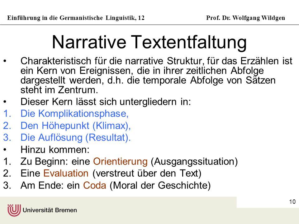 Einführung in die Germanistische Linguistik, 12Prof. Dr. Wolfgang Wildgen 10 Narrative Textentfaltung Charakteristisch für die narrative Struktur, für