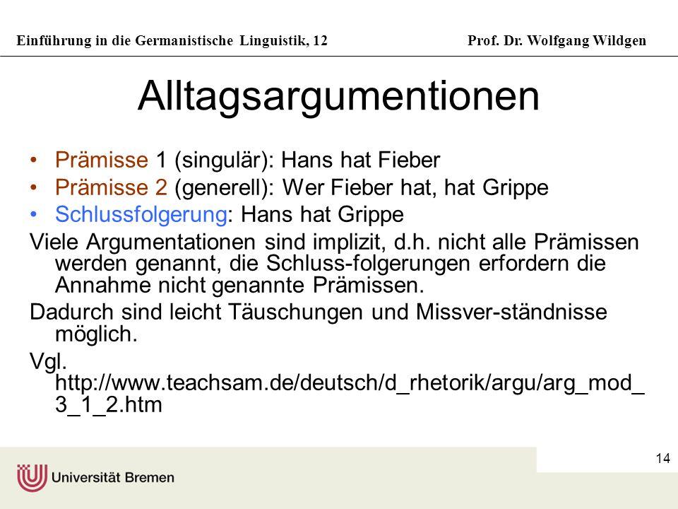Einführung in die Germanistische Linguistik, 12Prof. Dr. Wolfgang Wildgen 14 Alltagsargumentionen Prämisse 1 (singulär): Hans hat Fieber Prämisse 2 (g