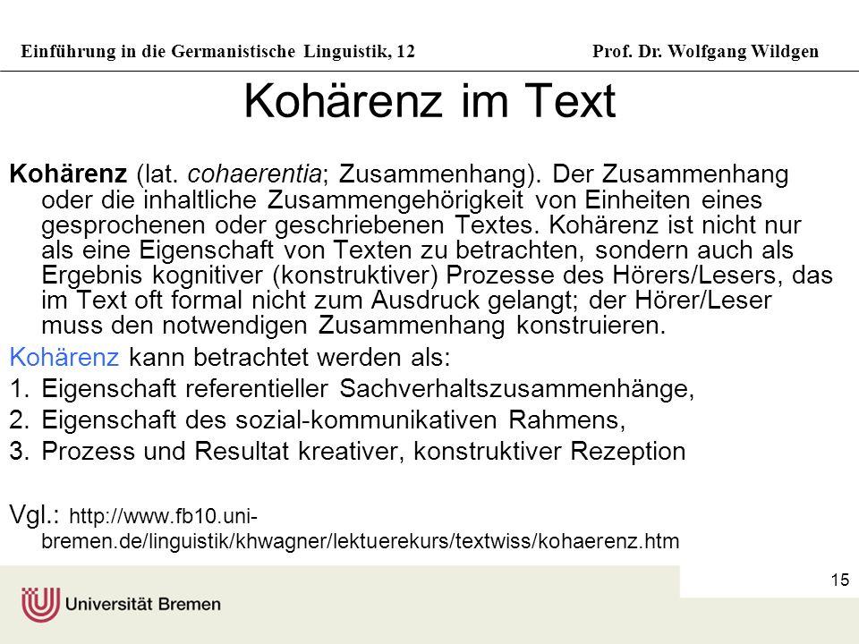 Einführung in die Germanistische Linguistik, 12Prof. Dr. Wolfgang Wildgen 15 Kohärenz im Text Kohärenz (lat. cohaerentia; Zusammenhang). Der Zusammenh