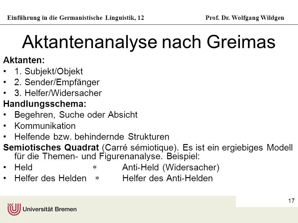 Einführung in die Germanistische Linguistik, 12Prof. Dr. Wolfgang Wildgen 17 Aktantenanalyse nach Greimas Aktanten: 1. Subjekt/Objekt 2. Sender/Empfän