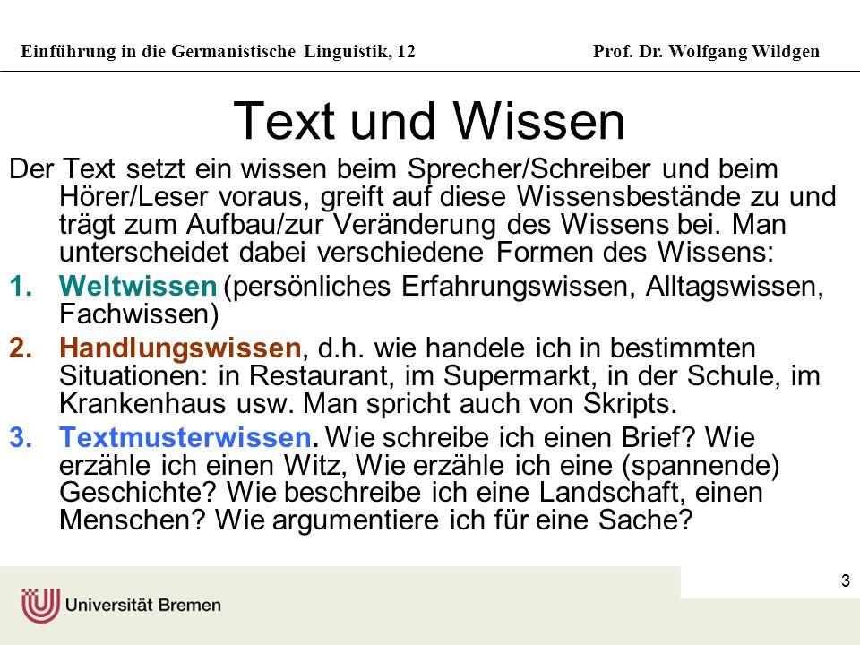 Einführung in die Germanistische Linguistik, 12Prof. Dr. Wolfgang Wildgen 3 Text und Wissen Der Text setzt ein wissen beim Sprecher/Schreiber und beim