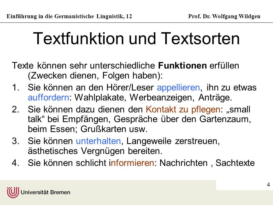 Einführung in die Germanistische Linguistik, 12Prof. Dr. Wolfgang Wildgen 4 Textfunktion und Textsorten Texte können sehr unterschiedliche Funktionen