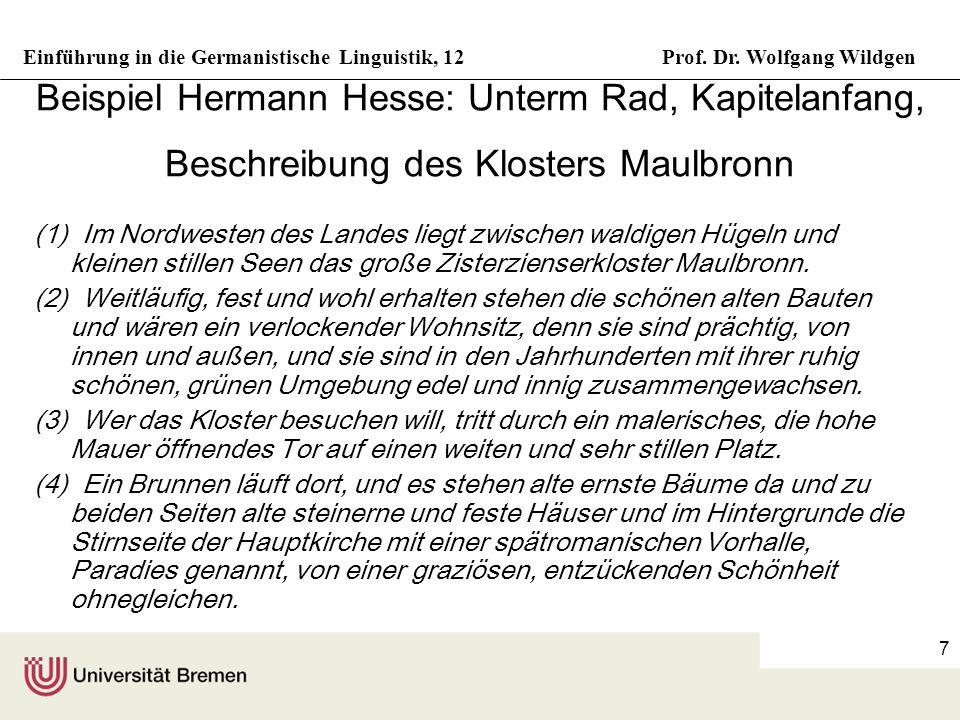 Einführung in die Germanistische Linguistik, 12Prof. Dr. Wolfgang Wildgen 7 Beispiel Hermann Hesse: Unterm Rad, Kapitelanfang, Beschreibung des Kloste