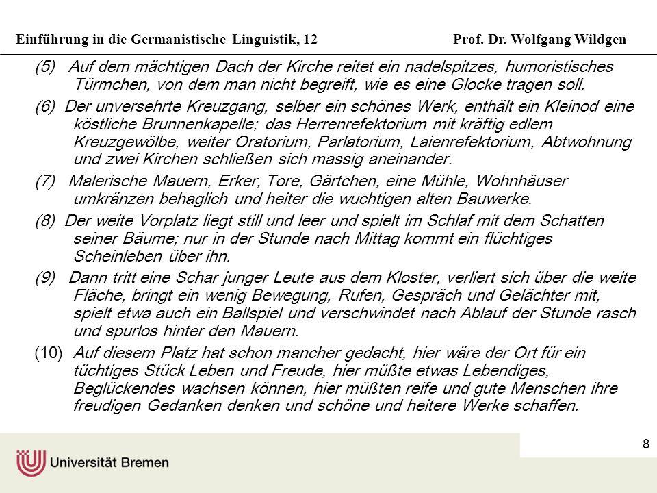 Einführung in die Germanistische Linguistik, 12Prof. Dr. Wolfgang Wildgen 8 (5) Auf dem mächtigen Dach der Kirche reitet ein nadelspitzes, humoristisc