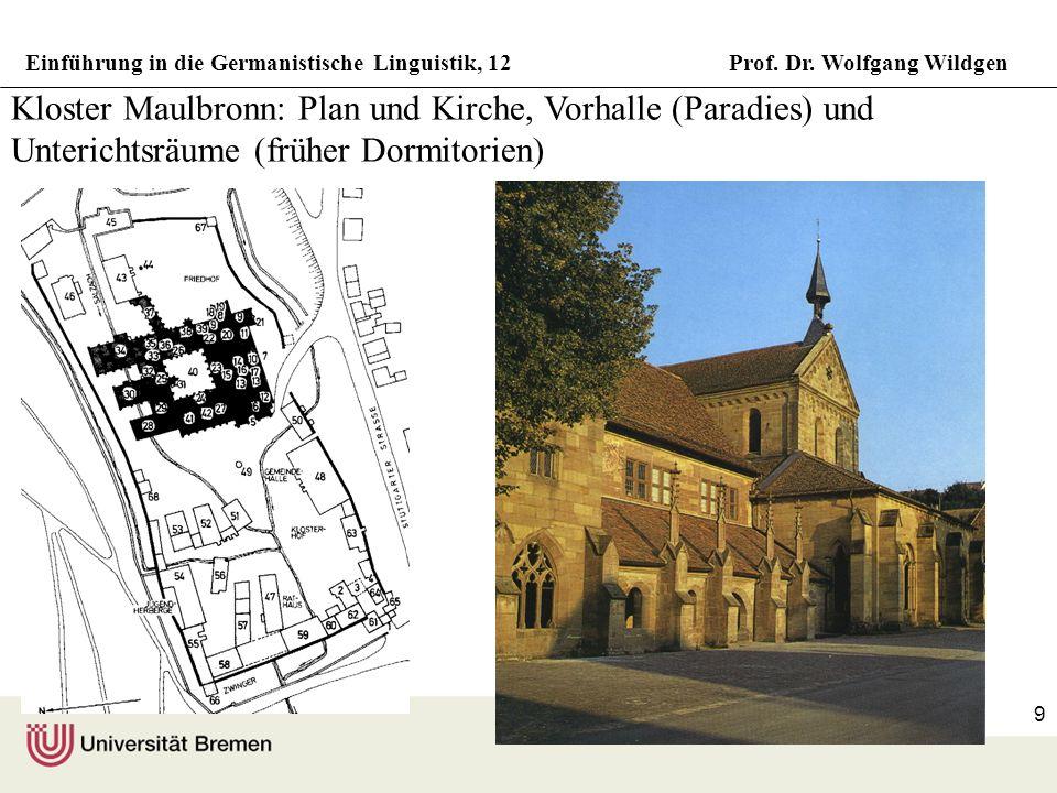 Einführung in die Germanistische Linguistik, 12Prof. Dr. Wolfgang Wildgen 9 Kloster Maulbronn: Plan und Kirche, Vorhalle (Paradies) und Unterichtsräum