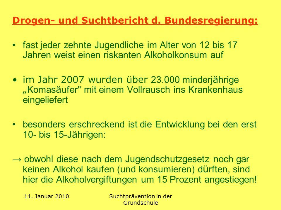 11. Januar 2010Suchtprävention in der Grundschule Drogen- und Suchtbericht d. Bundesregierung: fast jeder zehnte Jugendliche im Alter von 12 bis 17 Ja