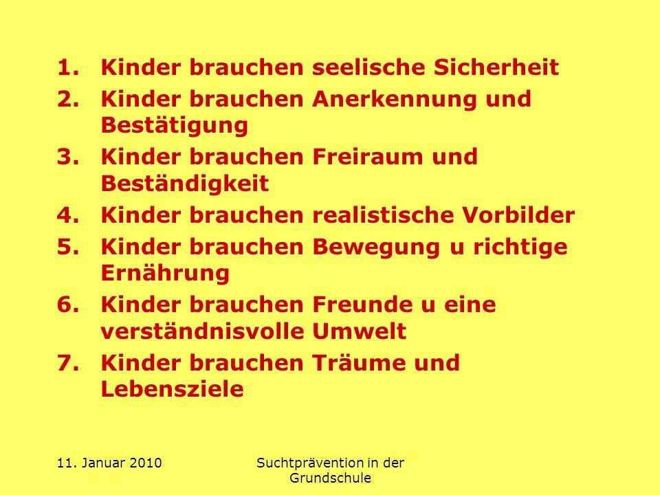11. Januar 2010Suchtprävention in der Grundschule 1.Kinder brauchen seelische Sicherheit 2.Kinder brauchen Anerkennung und Bestätigung 3.Kinder brauch