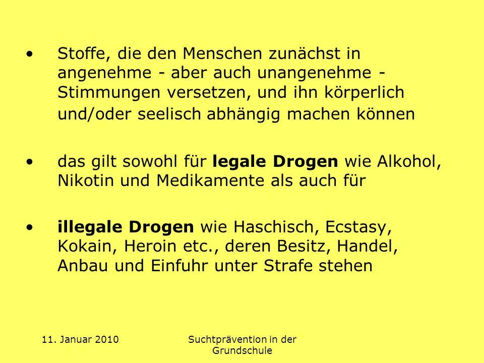 11.Januar 2010Suchtprävention in der Grundschule 5.Sucht- u.