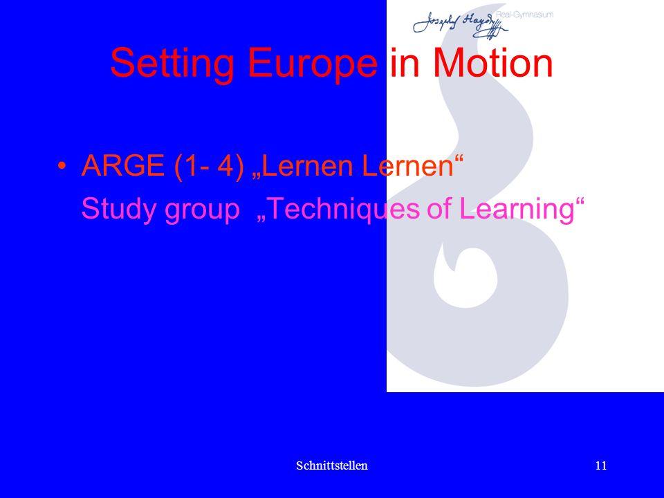Schnittstellen10 Setting Europe in Motion MonatNahtstelleTätigkeitZweckAnmerkung JuniService- Angebot Konstituierung d. LehrerInnen- Teams d. nächstjä