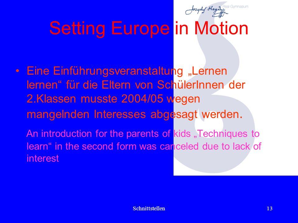 Schnittstellen12 Setting Europe in Motion Kurse (Courses) 2004/05 Zwei Unverbindliche Übungen Lerntechnik ( 2 Gruppen, 1 Stunde pro Woche) Two voluntary subjects Teaching to learn (2 groups, 1 hours pro week)