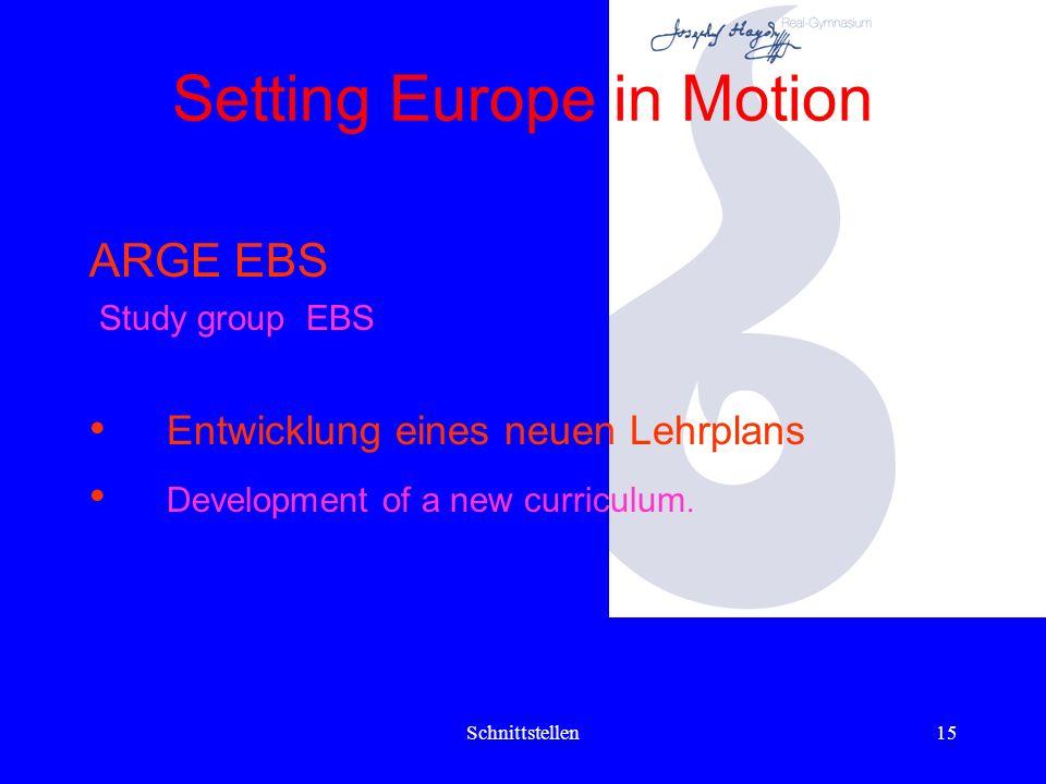Schnittstellen14 Setting Europe in Motion KLAX- Lerntipps für Schüler, Eltern u. Interessierte werden erstellt und auf der Homepage der Schule install