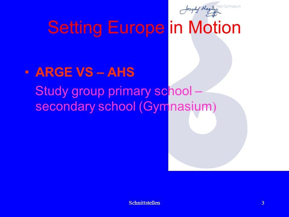 Schnittstellen13 Setting Europe in Motion Eine Einführungsveranstaltung Lernen lernen für die Eltern von SchülerInnen der 2.Klassen musste 2004/05 wegen mangelnden Interesses abgesagt werden.