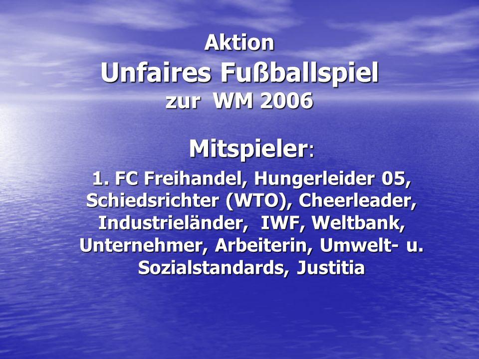 Unfaires Fußballspiel Material : Schilder mit Titel (Arbeit in Würde/ Sozialstandards angebrochen) Absperrband, kleine Spieltore od.