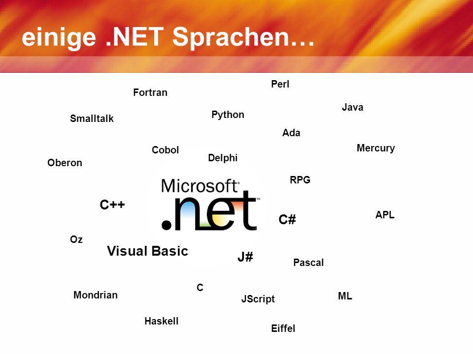 einige.NET Sprachen… APL Cobol Eiffel Fortran Pascal Perl Python Ada C C++ C# Haskell Java JScript Visual Basic Mercury ML Oz Oberon Smalltalk J# RPG