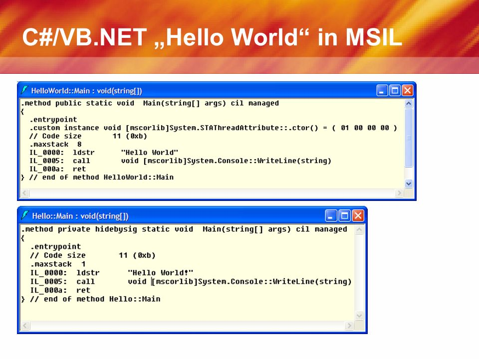 C#/VB.NET Hello World in MSIL