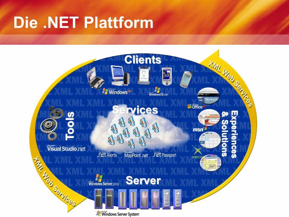 Die.NET Plattform Services Tools Experiences & Solutions Clients Server