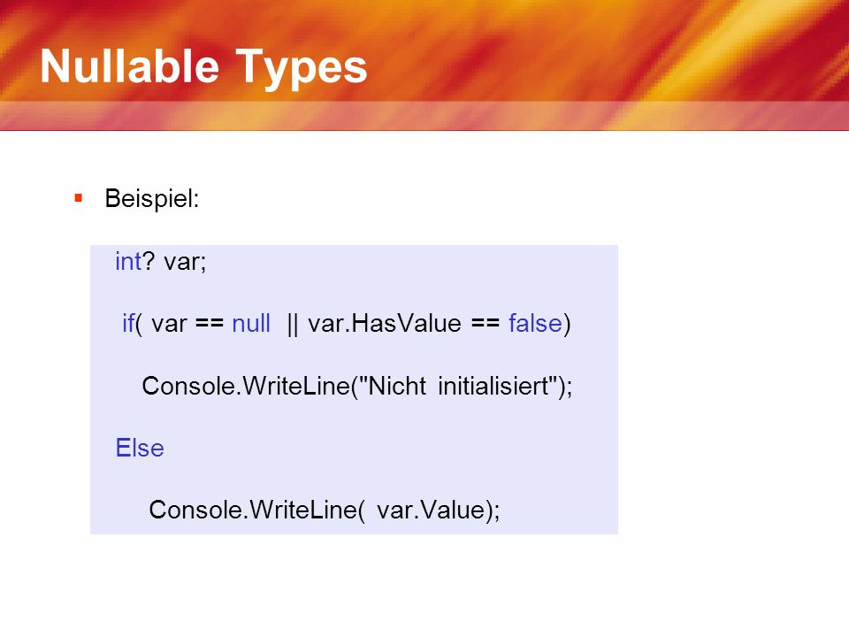 Nullable Types Beispiel: int.