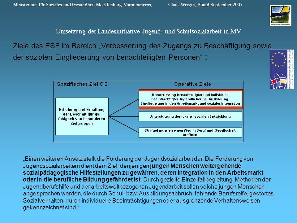 Ziele des ESF im Bereich Verbesserung des Zugangs zu Beschäftigung sowie der sozialen Eingliederung von benachteiligten Personen : Einen weiteren Ansa