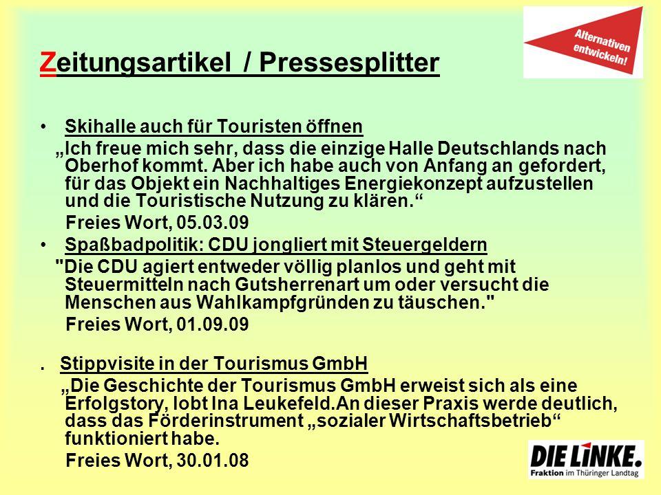 Zeitungsartikel / Pressesplitter Skihalle auch für Touristen öffnen Ich freue mich sehr, dass die einzige Halle Deutschlands nach Oberhof kommt. Aber