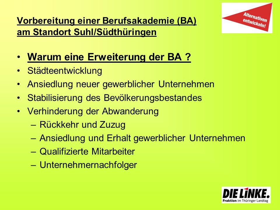 Vorbereitung einer Berufsakademie (BA) am Standort Suhl/Südthüringen Warum eine Erweiterung der BA ? Städteentwicklung Ansiedlung neuer gewerblicher U