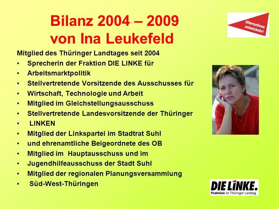 Mitglied des Thüringer Landtages seit 2004 Sprecherin der Fraktion DIE LINKE für Arbeitsmarktpolitik Stellvertretende Vorsitzende des Ausschusses für