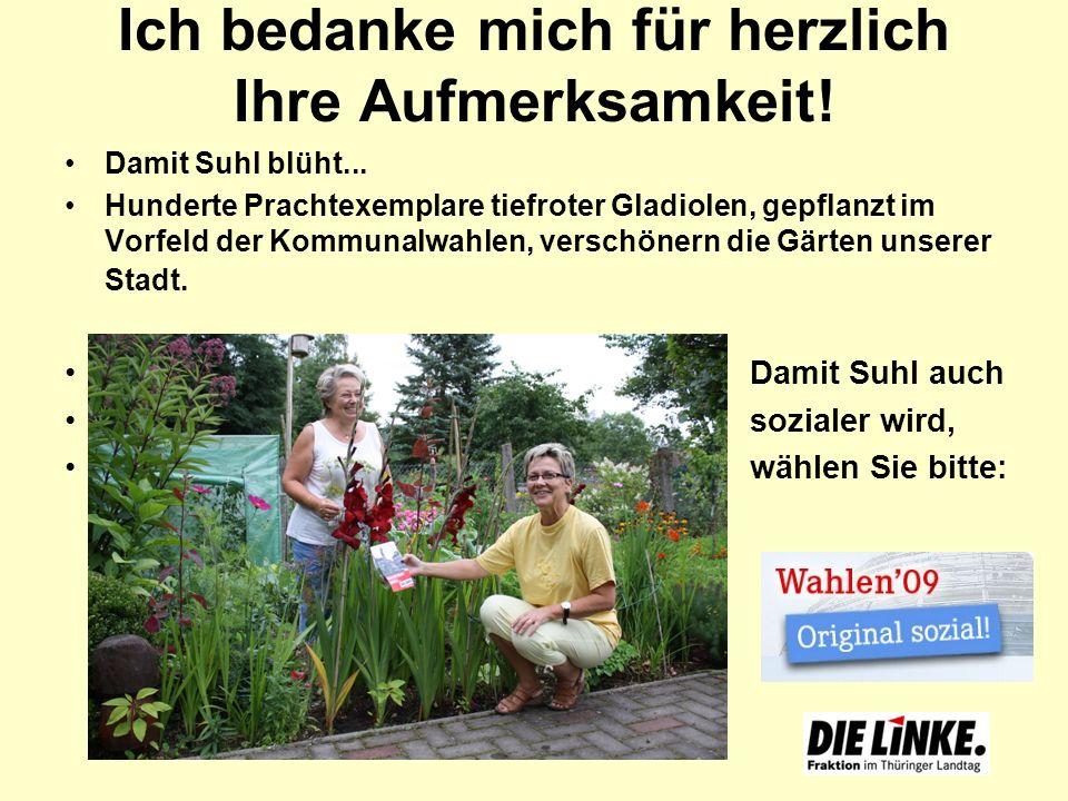 Ich bedanke mich für herzlich Ihre Aufmerksamkeit! Damit Suhl blüht... Hunderte Prachtexemplare tiefroter Gladiolen, gepflanzt im Vorfeld der Kommunal