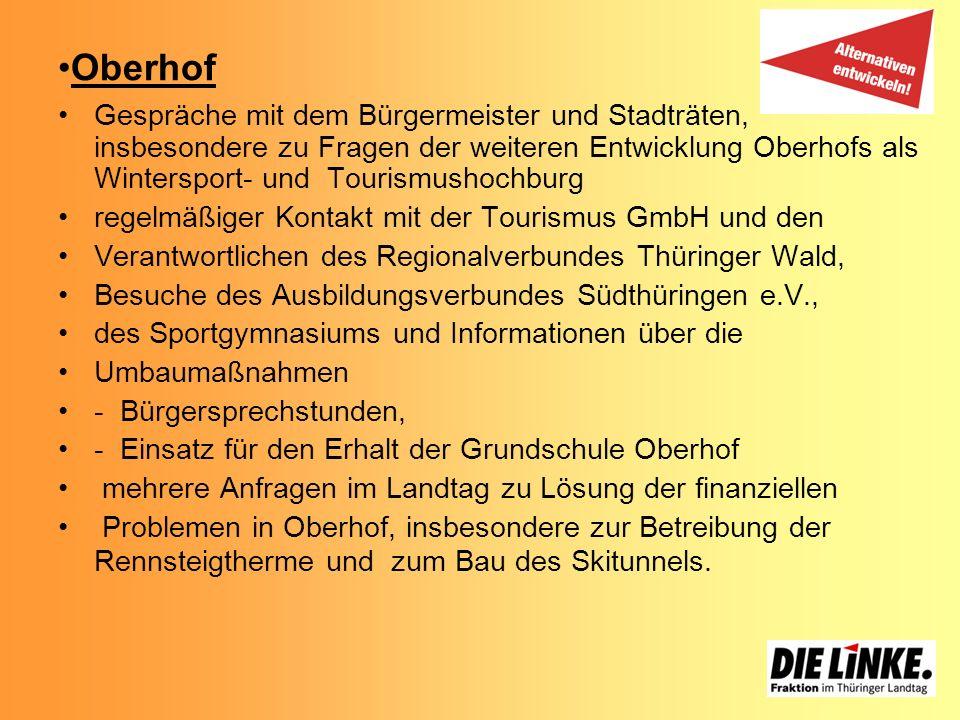 Oberhof Gespräche mit dem Bürgermeister und Stadträten, insbesondere zu Fragen der weiteren Entwicklung Oberhofs als Wintersport- und Tourismushochbur