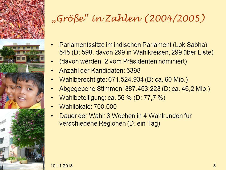 10.11.2013 3 Größe in Zahlen (2004/2005) Parlamentssitze im indischen Parlament (Lok Sabha): 545 (D: 598, davon 299 in Wahlkreisen, 299 über Liste) (d