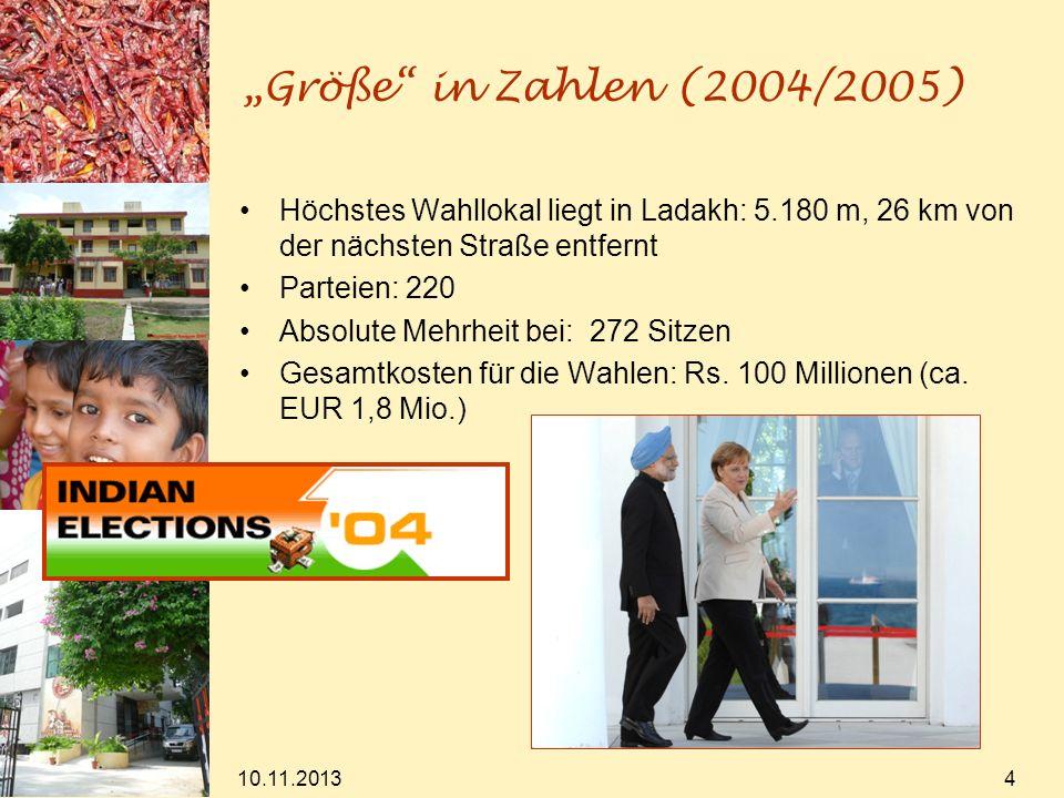 10.11.2013 4 Größe in Zahlen (2004/2005) Höchstes Wahllokal liegt in Ladakh: 5.180 m, 26 km von der nächsten Straße entfernt Parteien: 220 Absolute Me