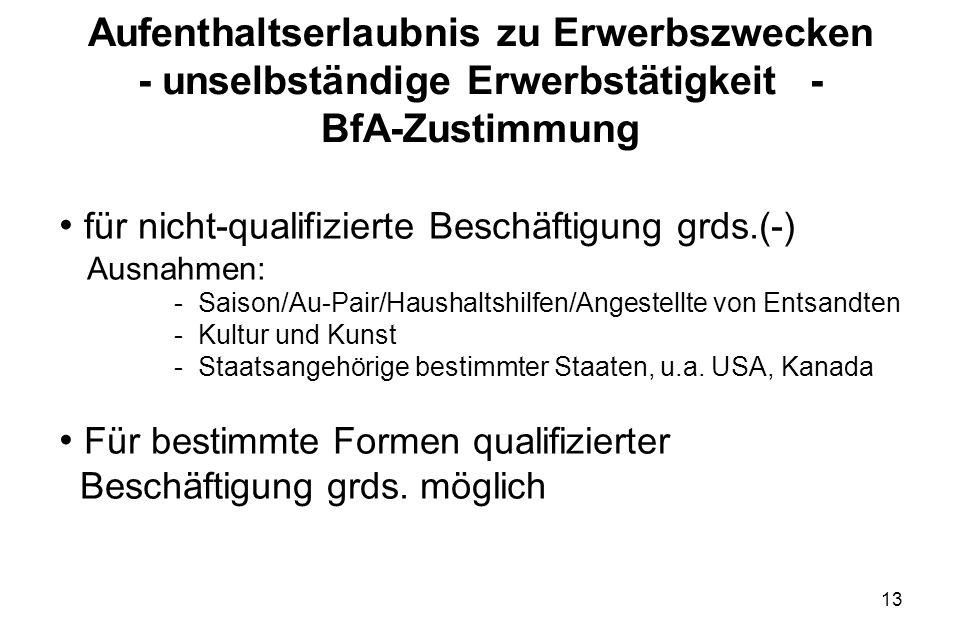 13 Aufenthaltserlaubnis zu Erwerbszwecken - unselbständige Erwerbstätigkeit- BfA-Zustimmung für nicht-qualifizierte Beschäftigung grds.(-) Ausnahmen: