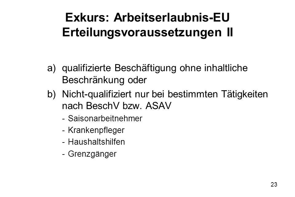23 Exkurs: Arbeitserlaubnis-EU Erteilungsvoraussetzungen II a)qualifizierte Beschäftigung ohne inhaltliche Beschränkung oder b)Nicht-qualifiziert nur