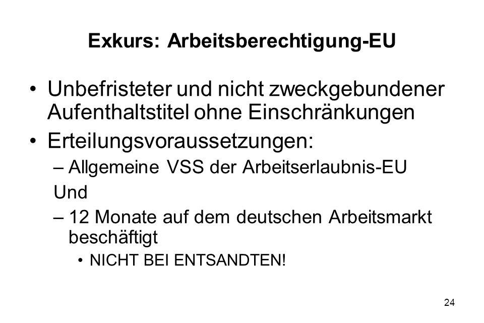 24 Exkurs: Arbeitsberechtigung-EU Unbefristeter und nicht zweckgebundener Aufenthaltstitel ohne Einschränkungen Erteilungsvoraussetzungen: –Allgemeine