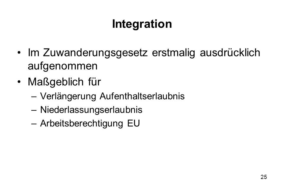25 Integration Im Zuwanderungsgesetz erstmalig ausdrücklich aufgenommen Maßgeblich für –Verlängerung Aufenthaltserlaubnis –Niederlassungserlaubnis –Ar