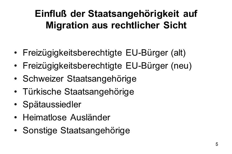 5 Einfluß der Staatsangehörigkeit auf Migration aus rechtlicher Sicht Freizügigkeitsberechtigte EU-Bürger (alt) Freizügigkeitsberechtigte EU-Bürger (n