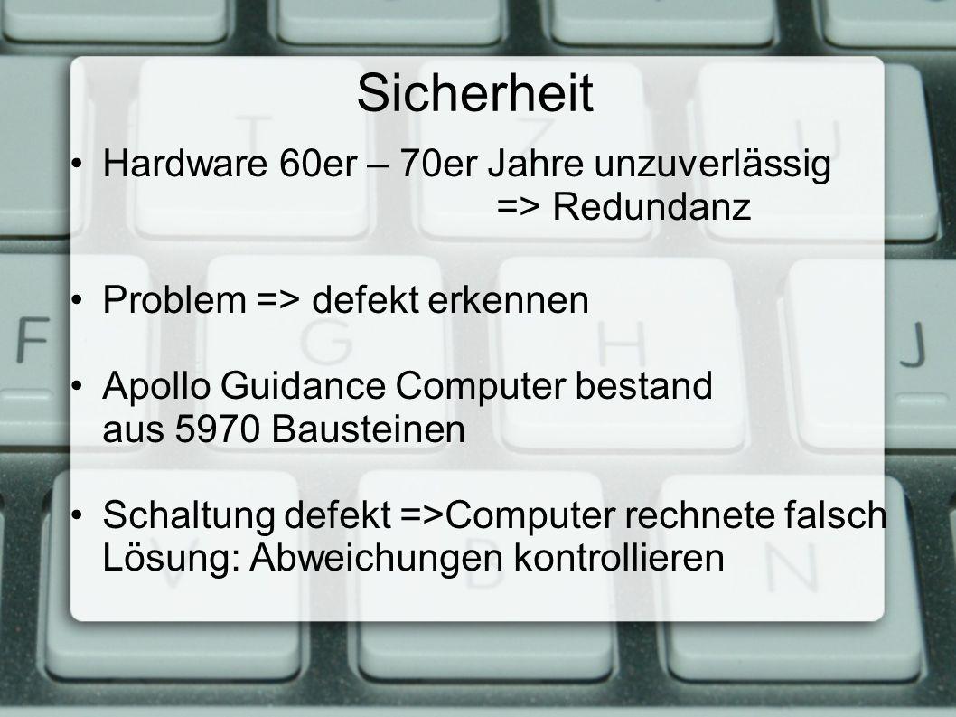 Sicherheit Hardware 60er – 70er Jahre unzuverlässig => Redundanz Problem => defekt erkennen Apollo Guidance Computer bestand aus 5970 Bausteinen Schaltung defekt =>Computer rechnete falsch Lösung: Abweichungen kontrollieren