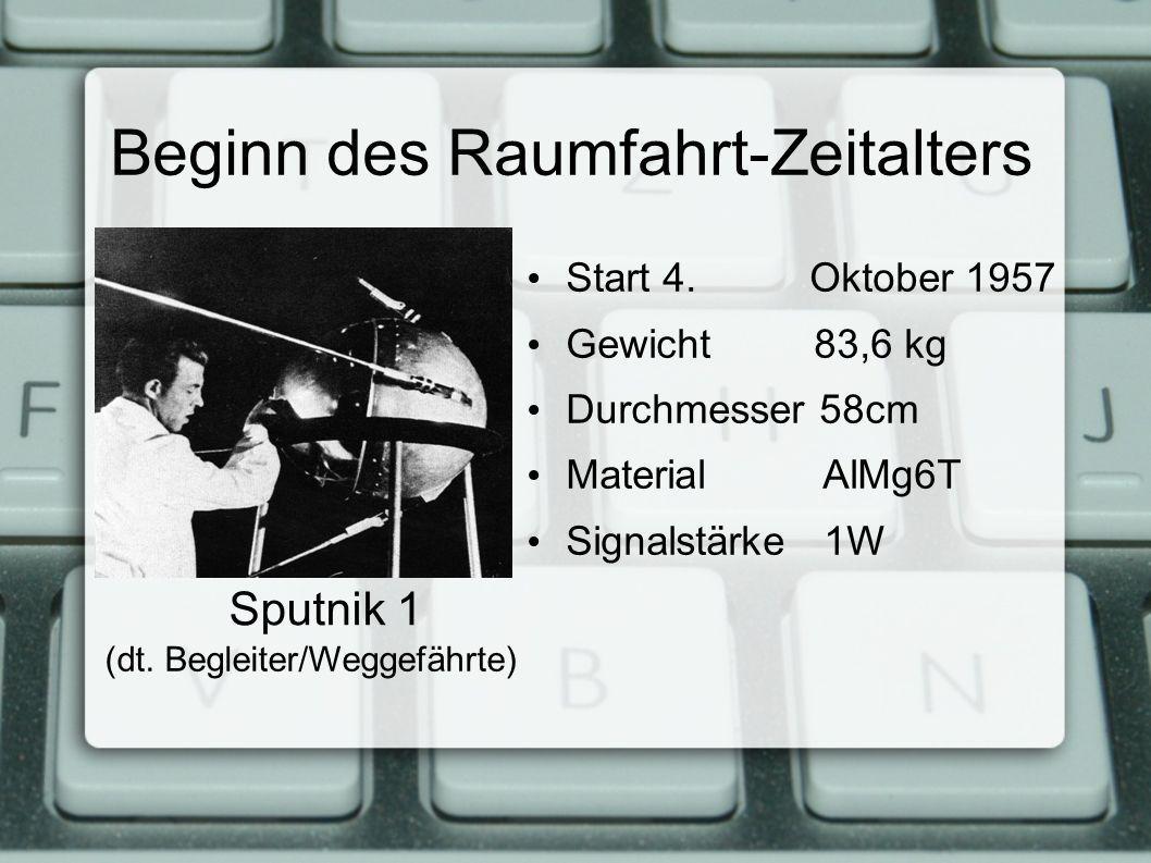 Beginn des Raumfahrt-Zeitalters Start 4.