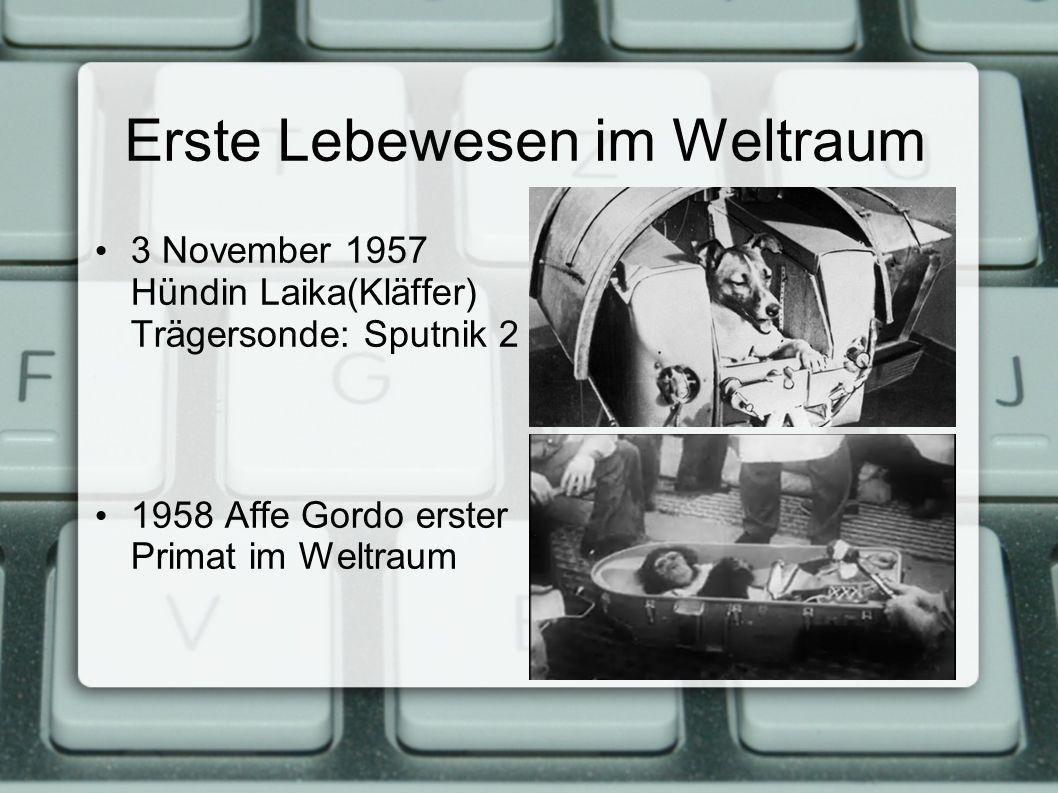 Erste Lebewesen im Weltraum 3 November 1957 Hündin Laika(Kläffer) Trägersonde: Sputnik 2 1958 Affe Gordo erster Primat im Weltraum