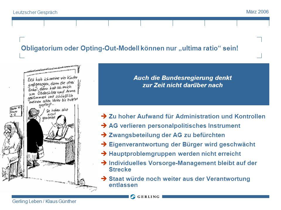 Gerling Leben / Klaus Günther März 2006 Gerling Leben / Klaus Günther März 2006 Leutzscher Gespräch Obligatorium oder Opting-Out-Modell können nur ult