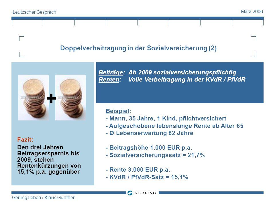 Gerling Leben / Klaus Günther März 2006 Gerling Leben / Klaus Günther März 2006 Leutzscher Gespräch Doppelverbeitragung in der Sozialversicherung (2)