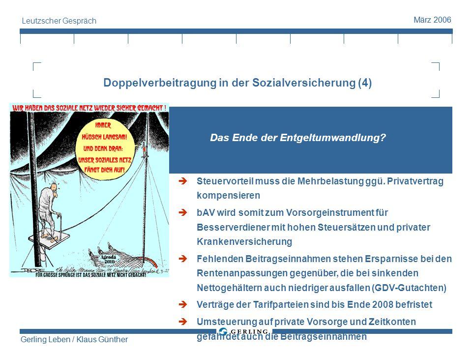 Gerling Leben / Klaus Günther März 2006 Gerling Leben / Klaus Günther März 2006 Leutzscher Gespräch Doppelverbeitragung in der Sozialversicherung (4)