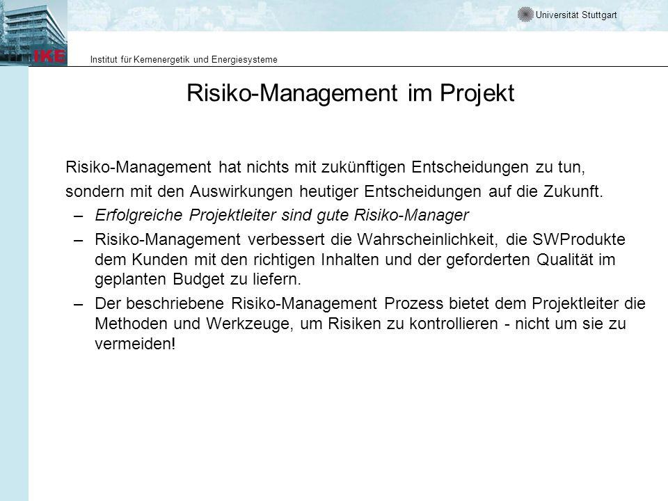 Universität Stuttgart Institut für Kernenergetik und Energiesysteme Risiko-Management Prozess All rights reserved © 2000, Alcatel, Paris.