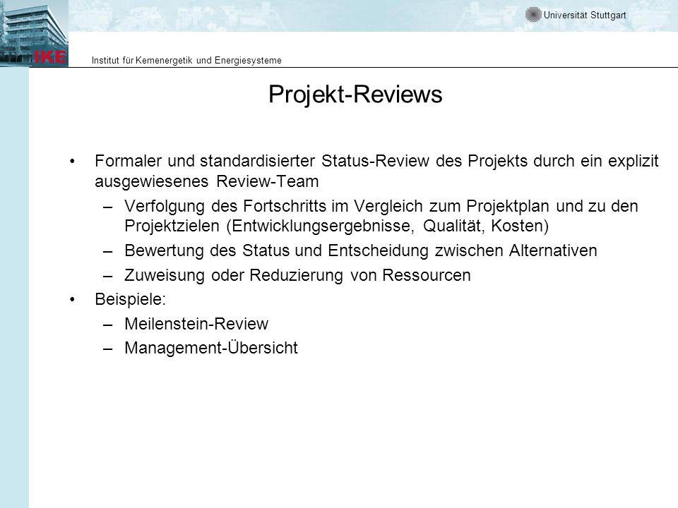 Universität Stuttgart Institut für Kernenergetik und Energiesysteme Projektverfolgung