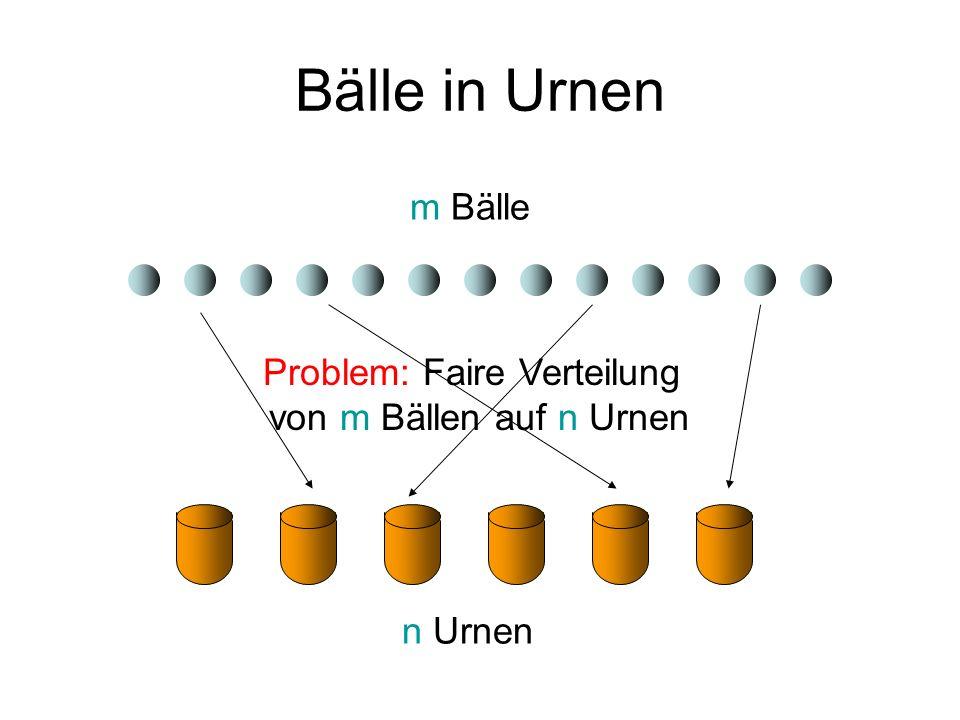 Bälle in Urnen Varianten: Bälle b j : uniforme oder nichtuniforme Gewichte w j (Gesamtgewicht 1) Urnen v i : uniforme oder nichtuniforme Kapazitäten c i (Gesamtkapazität 1) Fairness: für jede Urne v i, i 2 {1,…,n} ist j: b j in v i w j innerhalb von (1 § )c i für eine kleine Konstante >0