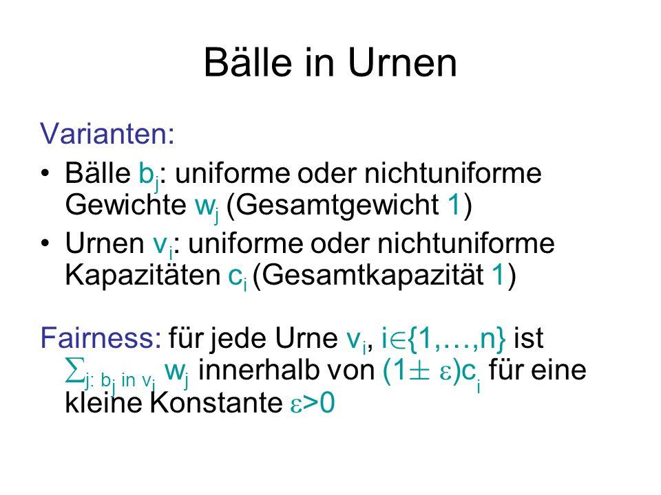 Bälle in Urnen Allgemein: Packungsproblem (werden wir hier nicht betrachten) Hier: Beschränkung auf uniforme Ballgewichte Statischer Fall: Menge der Bälle und Urnen fest vorgegeben