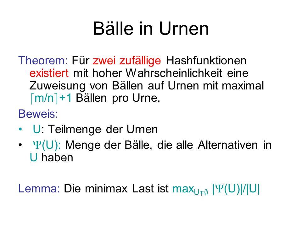 Bälle in Urnen Lemma: Die minimax Last ist L=max U= ; | (U)|/|U| Beweis: L …..